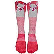 calcetines altos de llamas para mujer moda rosa