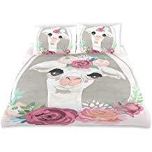 ropa de cama funda edredon nordico con llamas tendencia decoracion 2019 pastel rosa
