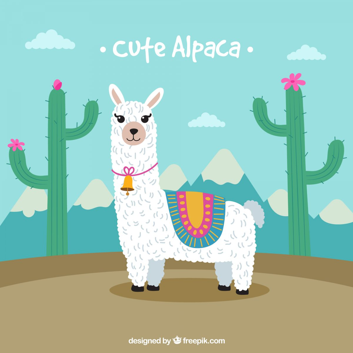 cute llama descarga gratis ilustracion digital