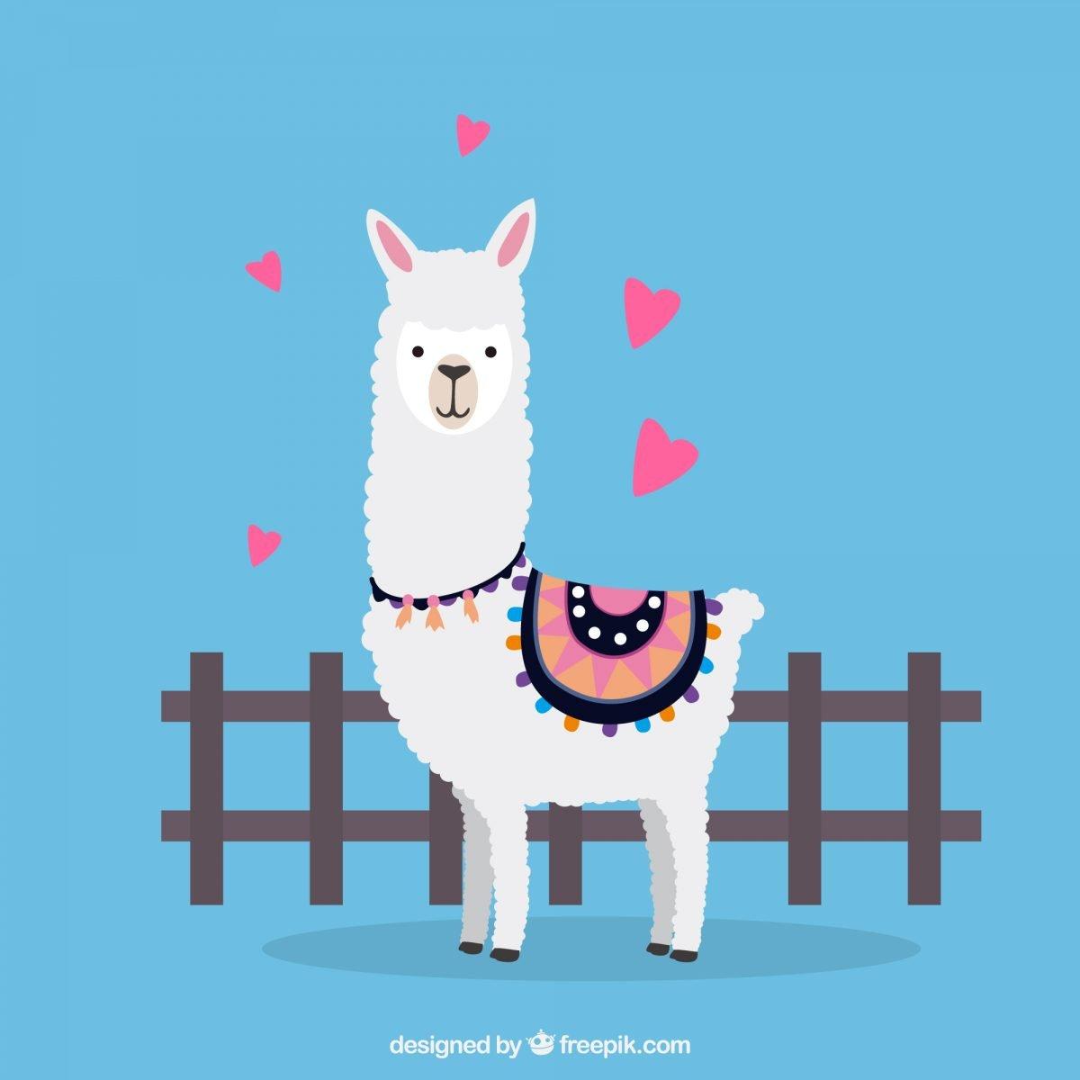 ilustracion de llama con corazones descarga gratis