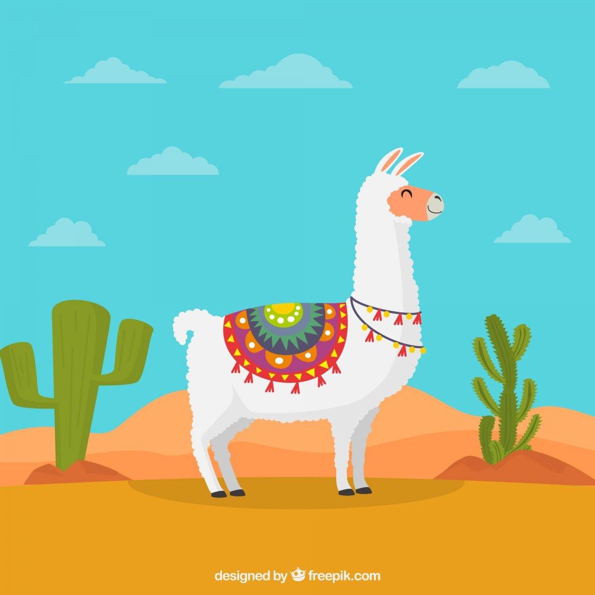 ilustracion de llama y cactus descarga gratis