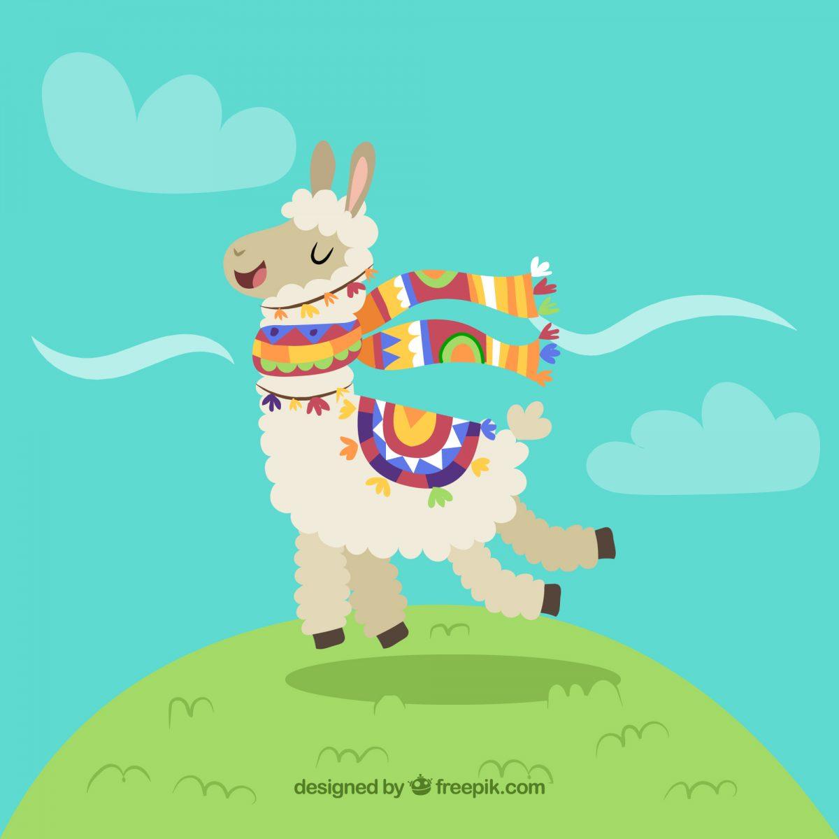 ilustracion llama peruana feliz descarga gratis